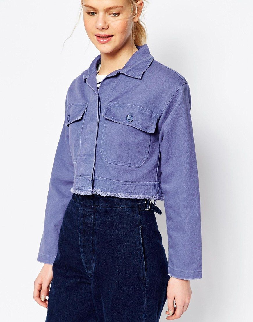 4632597d16 Image 3 of ASOS Shacket in Cropped Length in Distressed Wash ...