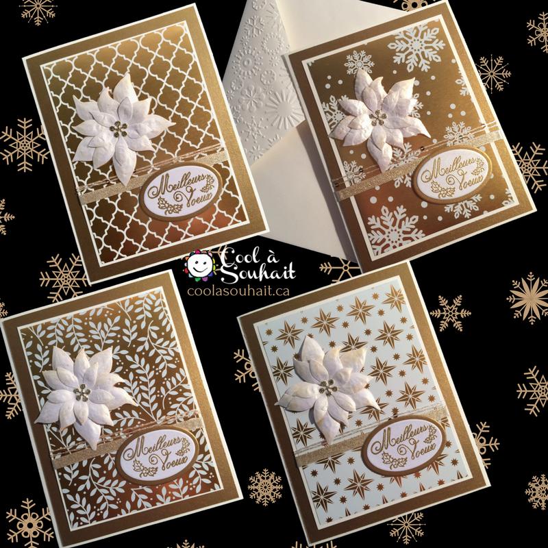 Carte de Noël Dorée avec Poinsettia. - Cool à Souh