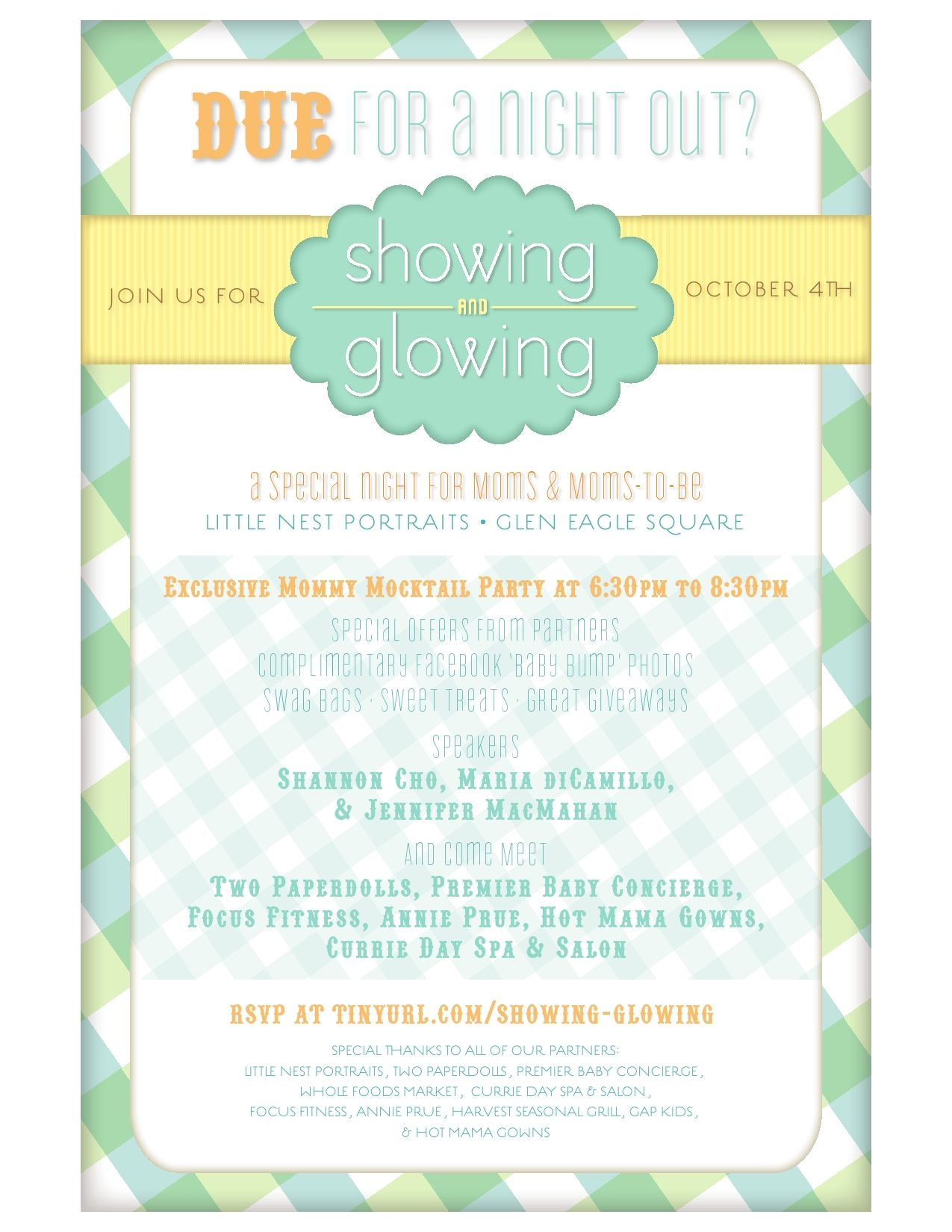October 4th from 6:30 to 8:30 Little Nest Portraits, Glen Mills is having a Showing and Glowing event for Mommy's and Mommy's to Be...stop in for a Mocktail Party, Give-a-ways, Swag Bags and More!