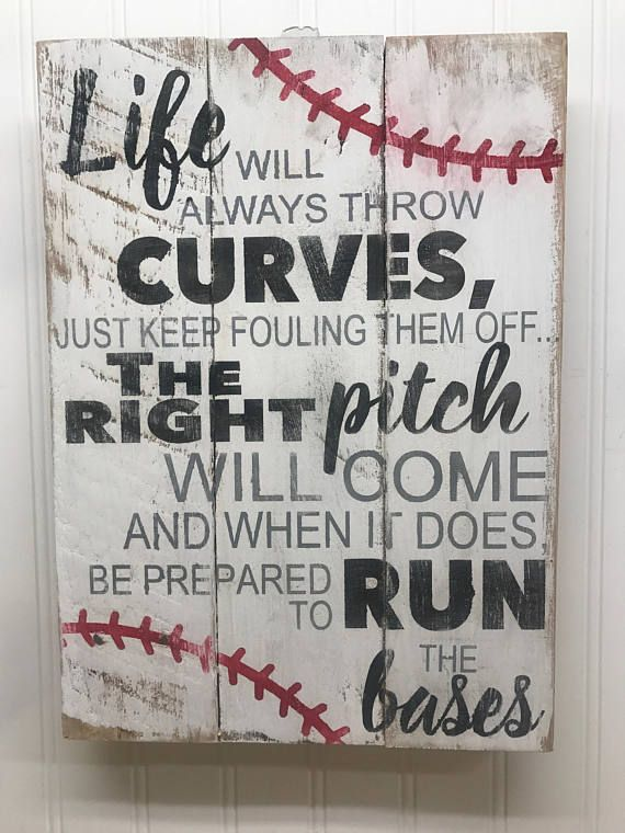 Photo of Baseball Sign – Rustic Pallet Wall Art – Life Will Always Throw Curves – Baseball Mom Gifts – Baseball Coach Gift – Wooden Wall Sign – 14×18
