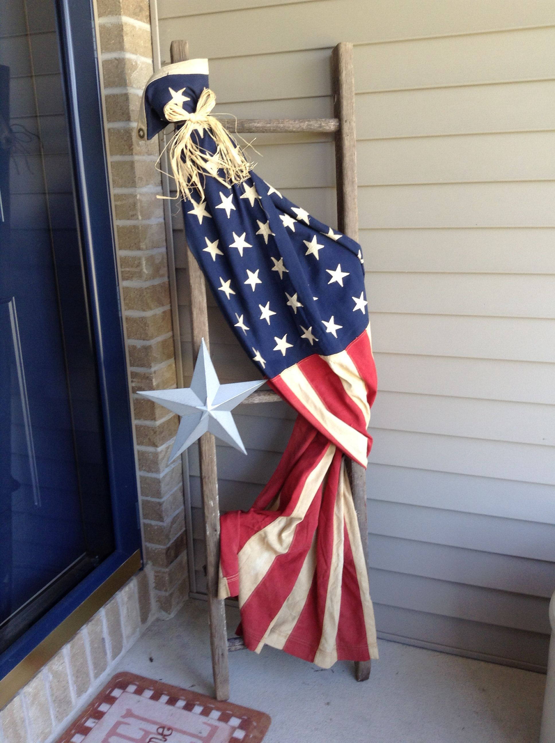 Flag Draped On A Ladder American Flag Decor Flag Decor