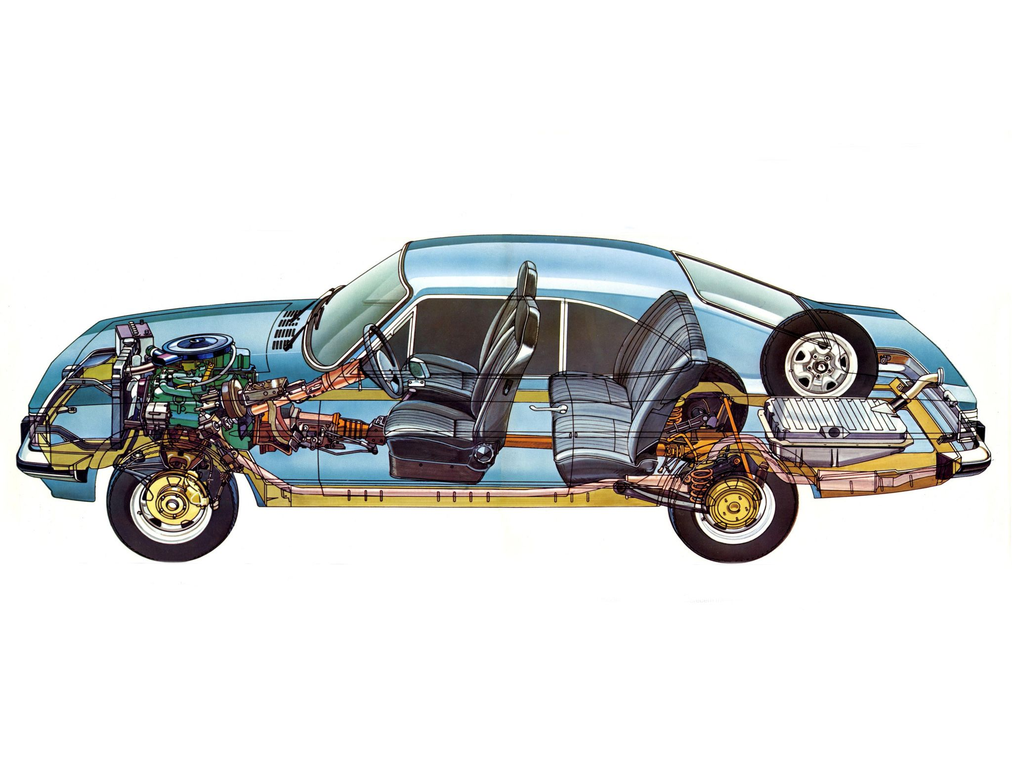 1981 Chevrolet Opala  Illustration unattributed | Cutaways  Colored (colored cutaway and