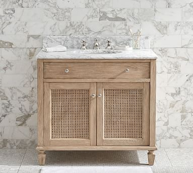 A Refined Coastal Style Defines This Bath Console The Cupboard Doors Are Woven Of Rattan For An Airy Open Feel An Single Sink Vanity Vanity Sink Single Sink