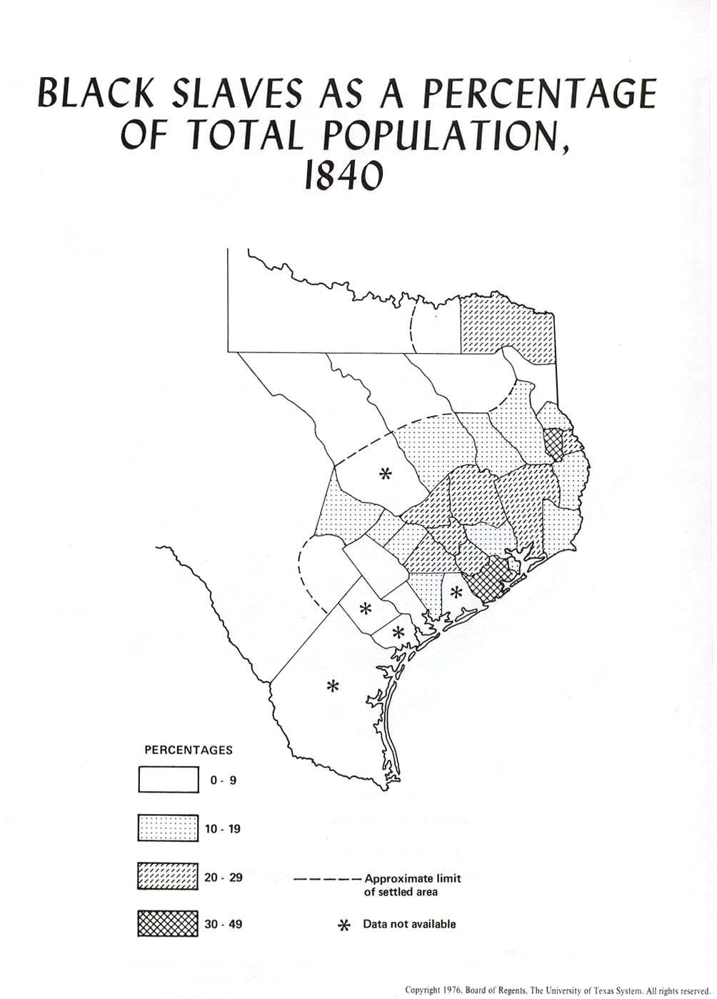 Map Of Texas 1840.Black Slaves As A Percentage Of The Total Population Of Texas In