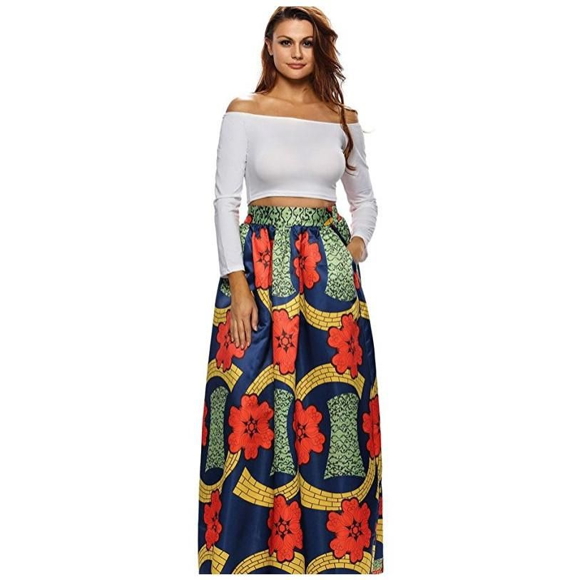Women Casual High Waisted African Floral Print A Line Maxi Long
