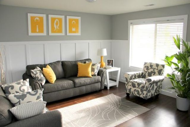11 Charcoal Grey Sofa And Chair Yellow Pillows And Art Pieces