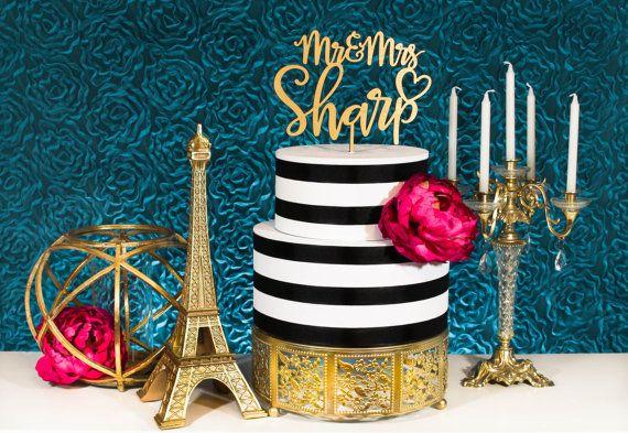 Gold Cake Topper  Custom Wedding Cake Topper  Cake Top