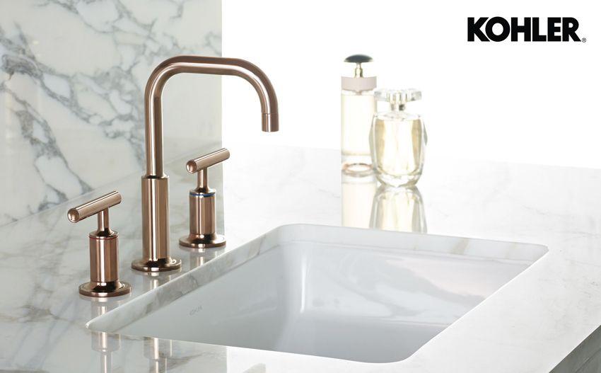 Kohler Rose Gold Faucet Bathrooms Bathroom Gold Faucet Faucet