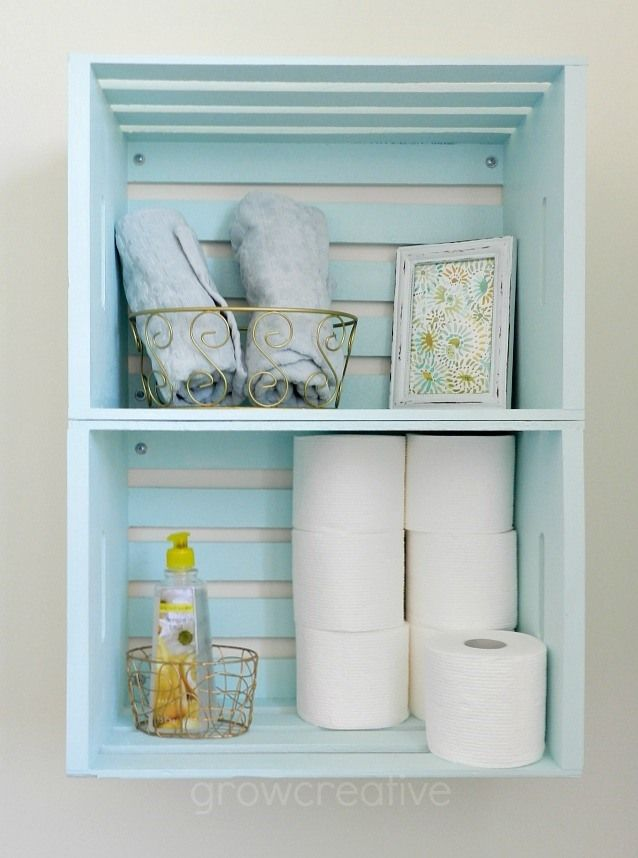Blue Wooden Crate Storage  Create Bathroom Storage With Wooden Crates Hung  On The Wall As
