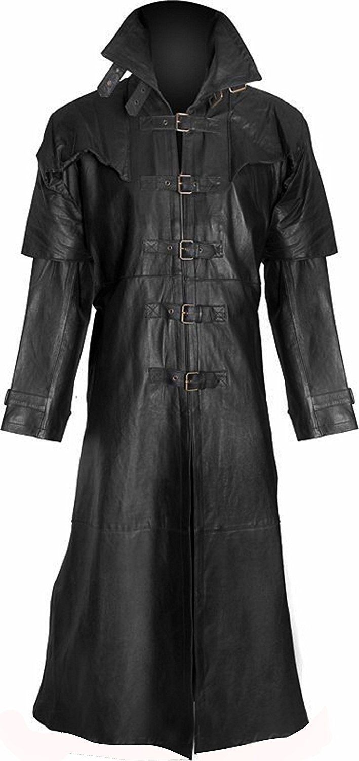 Mes/'s Van Helsing Gothic Vampire Steam Punk Real Leather Trench Coat