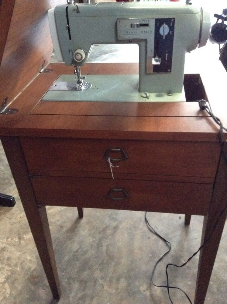 Antique Vintage Sears Kenmore Sewing Machine, Cabinet And Accessories