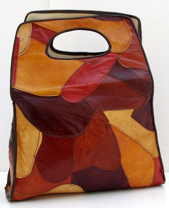 lovely autumn colours    Vintage Patchwork Bag, Leather Patchwork Bag, Leather Shopper. €29.00, via Etsy.