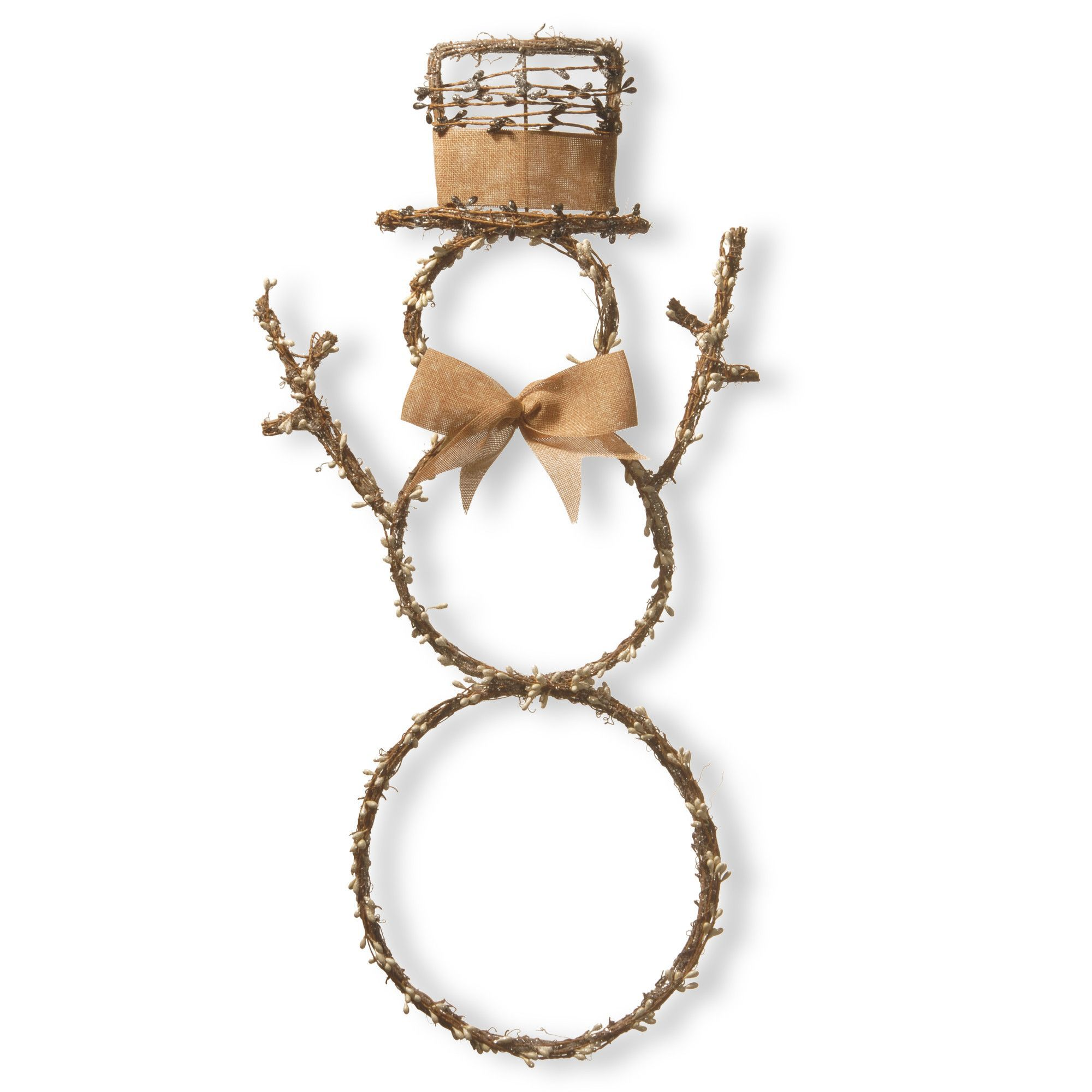 Features metal frame construction woven wood branches with