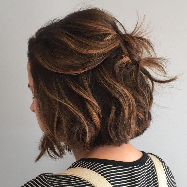 Caramel Balayage For Brown Bob Thin Fine Hair Cute Hairstyles For Short Hair Short Hair Styles