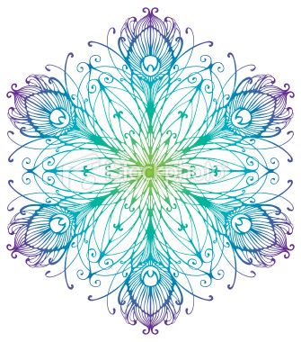 Peacock+Feather+Drawing | Peacock Feather Snowflake Royalty Free Stock Vector Art Illustration