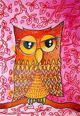 Vibrant Brown Owl Folk Art ACEO ATC Original Ink Painting | eBay