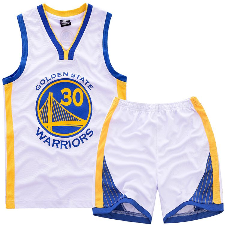 NBA Golden State Warriors  30 Stephen Curry Kids jersey with shorts Set  white 9c7ed8947