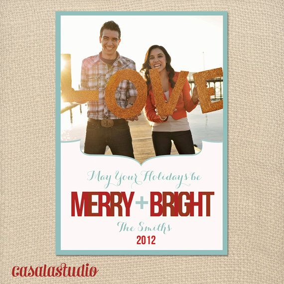 Bold Merry & Bright Christmas Card Holiday by casalastudio on Etsy