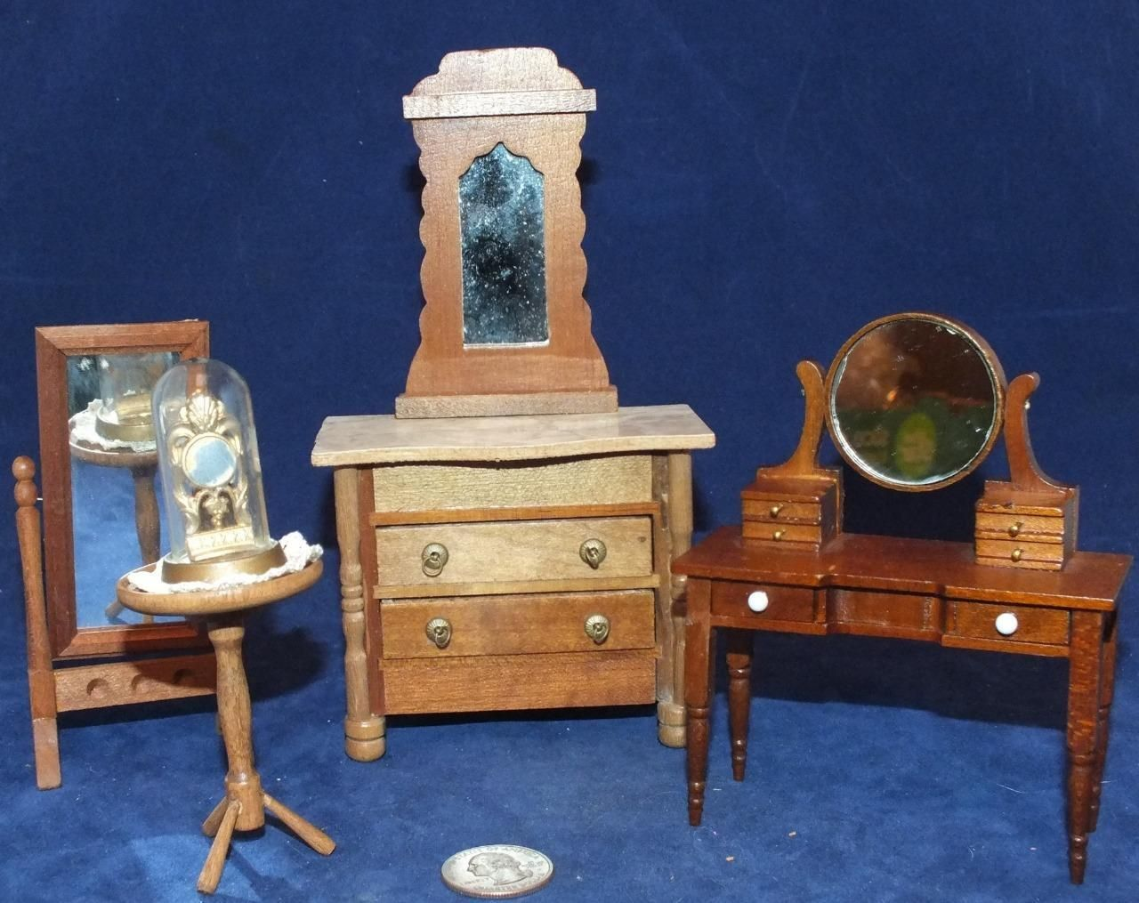 5 PC Vintage Shackman Dollhouse Bedroom Furniture Bureau Clock Mirror Dr Table | eBay