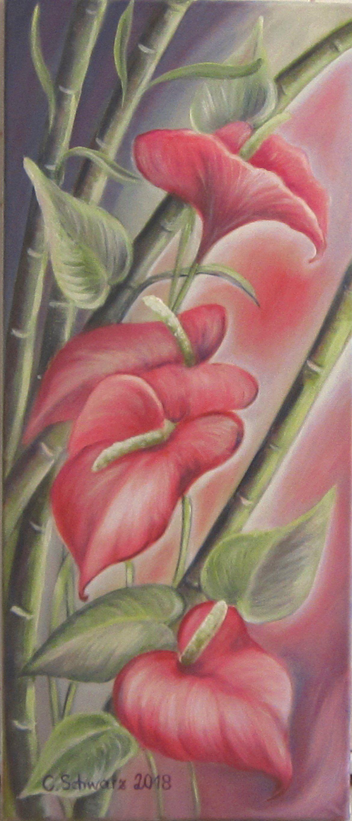 Atemberaubend Exotic Flamingo Flower-art Anthurium picture deco canvas artwork @JJ_53