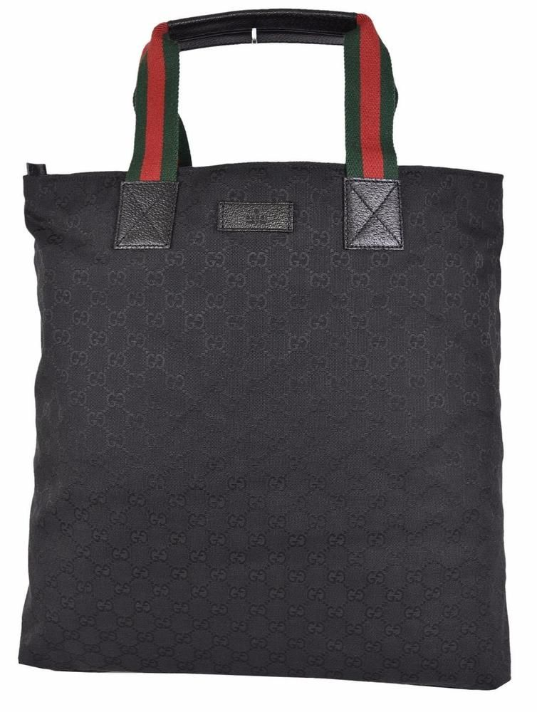 672feaa750d3 NEW Gucci 131233 Black Canvas Red Green Web GG Guccissima Purse Shopper Tote  #Gucci #TotesShoppers