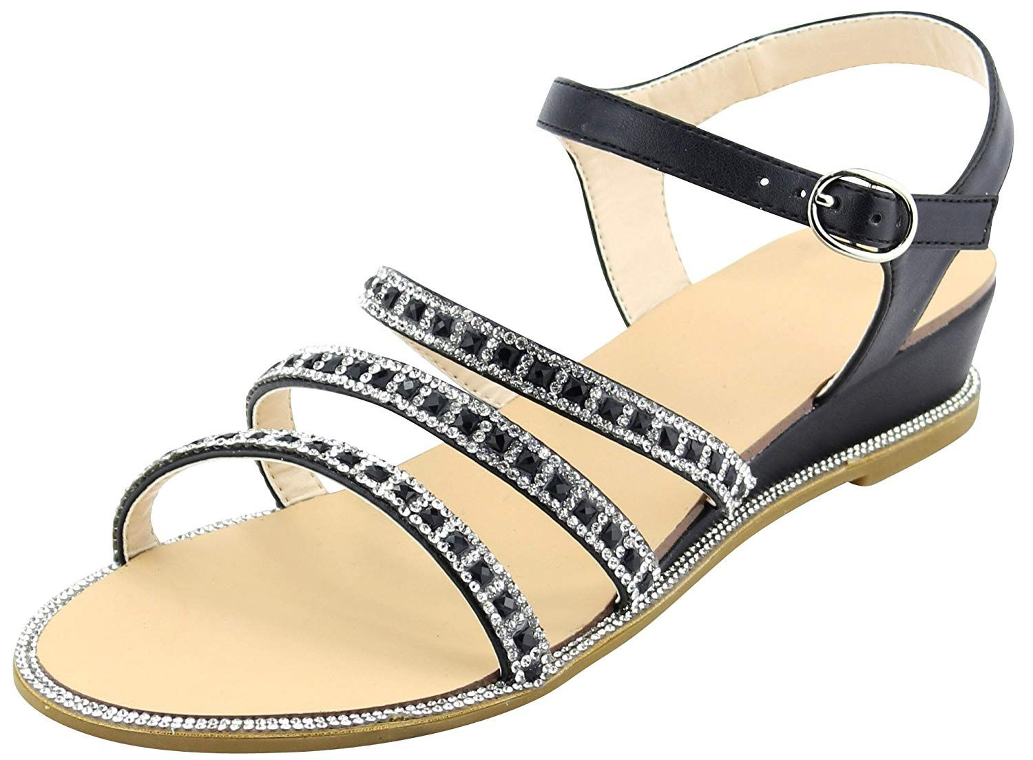 14c860664e6 Cambridge Select Women s Strappy Open Toe Buckle Ankle Glitter Crystal  Rhinestone Low Wedge Sandal. This