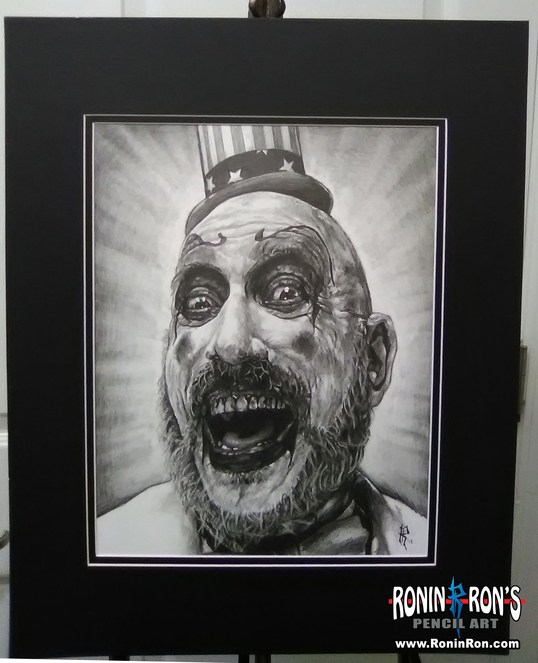 11 X 14 Pencil Drawing Of Sid Haig As Captain Spaulding From Rob