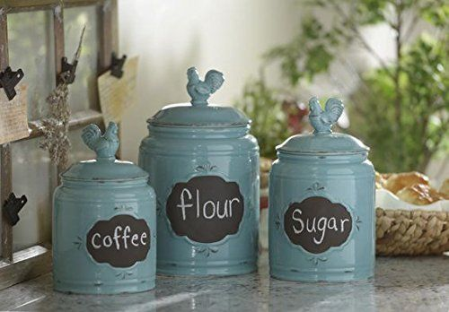 Set Of 3 Durable Blue Chalkboard Rooster Canister Set With Tight