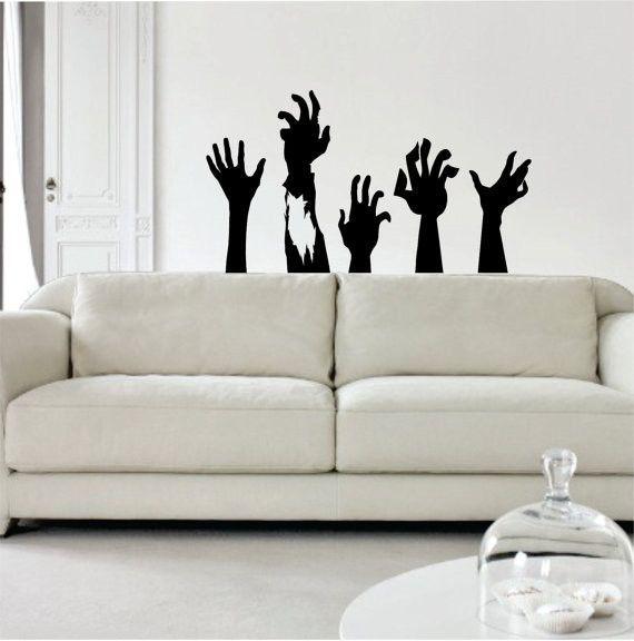 Zombie Hands Design Decal Sticker Wall Vinyl Art Home Room Decor - green