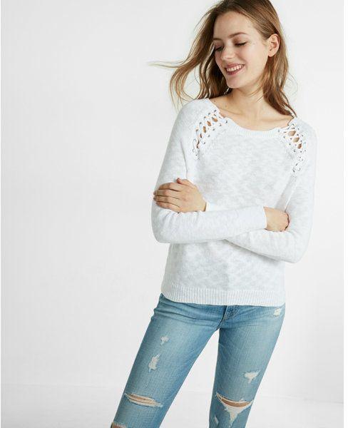 Express Lace-up Shoulder Pullover Sweater  7f3b30bbb