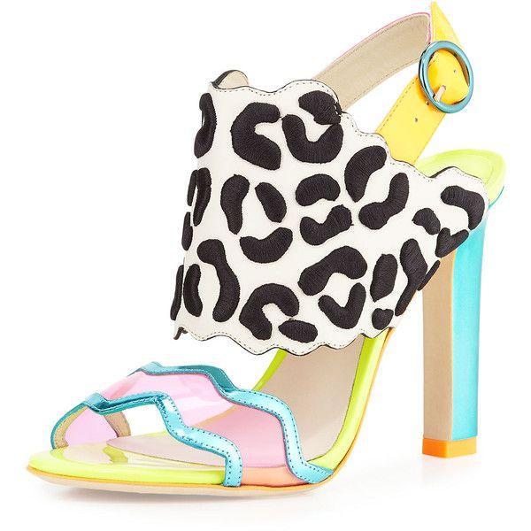 Sophia Webster Dionne Leopard-Embroidered Slingback Sandal ($292) ❤ liked on Polyvore featuring shoes, sandals, slingback, adjustable sandals, gladiator sandals, black slingbacks e black shoes