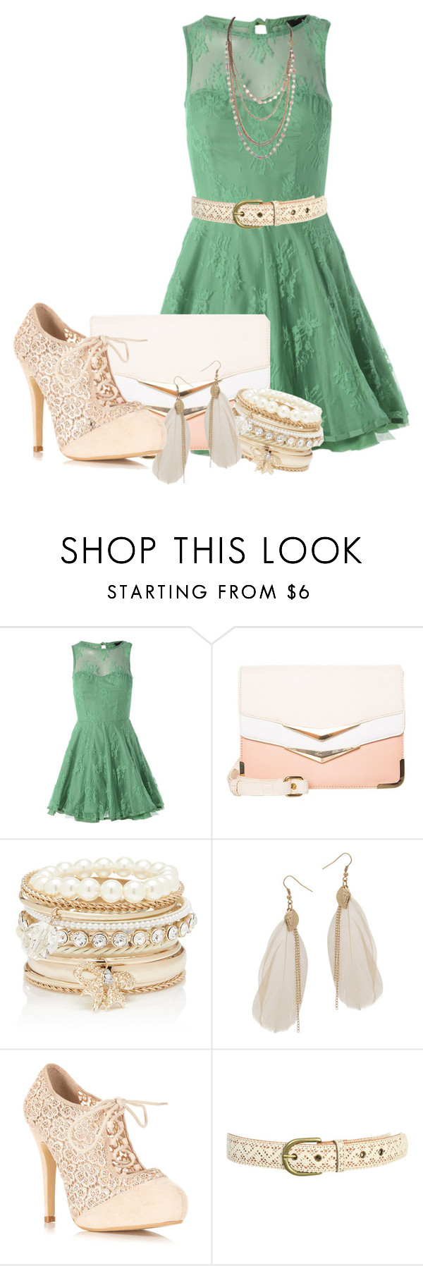 """Green Dress"" by kurlyglamour ❤ liked on Polyvore featuring AX Paris, ALDO, Forever New, Wet Seal and Miss Selfridge"