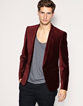Wow, he is fucking cute. And so is the red velvet blazer ...