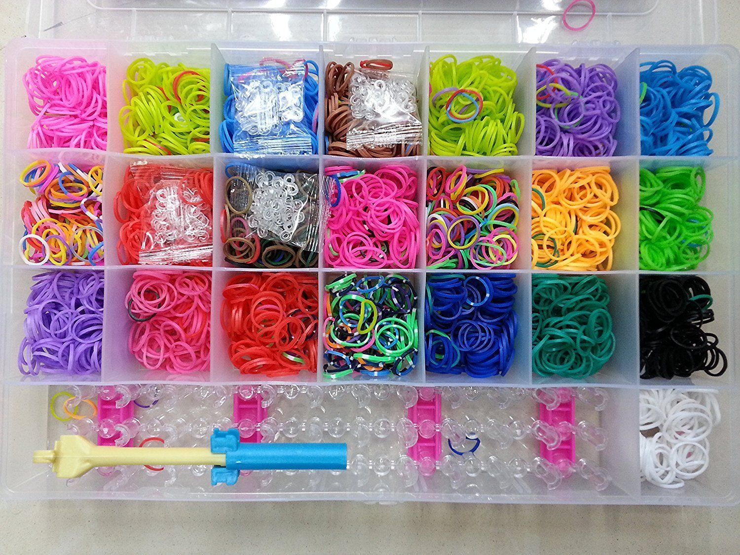 Gold Leaf Rainbow Color Diy Loom Band Kit With 4200 Colourful Rubber Bands Amazon In Home Kitchen Loom Bands Rainbow Colors Color