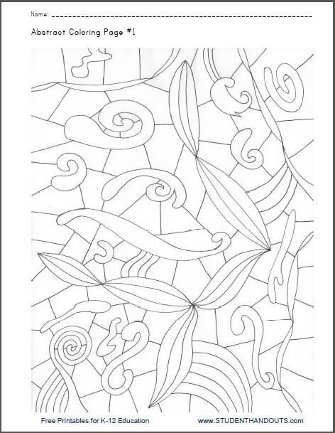Worksheet Printable Art Worksheets abstract coloring page 1 free to print pdf file school heres a printable sheet fun for both adults and kids