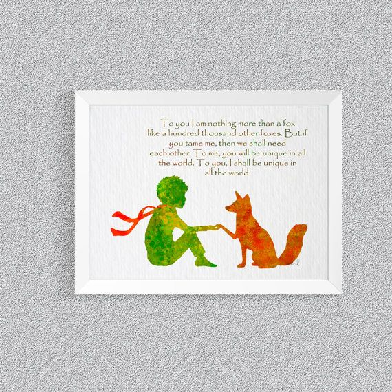 Le Petit Prince Fox Quote The little prince Fox little prince art Giclee Print Wall Decor prince room decor baby room baby shower gift {57}