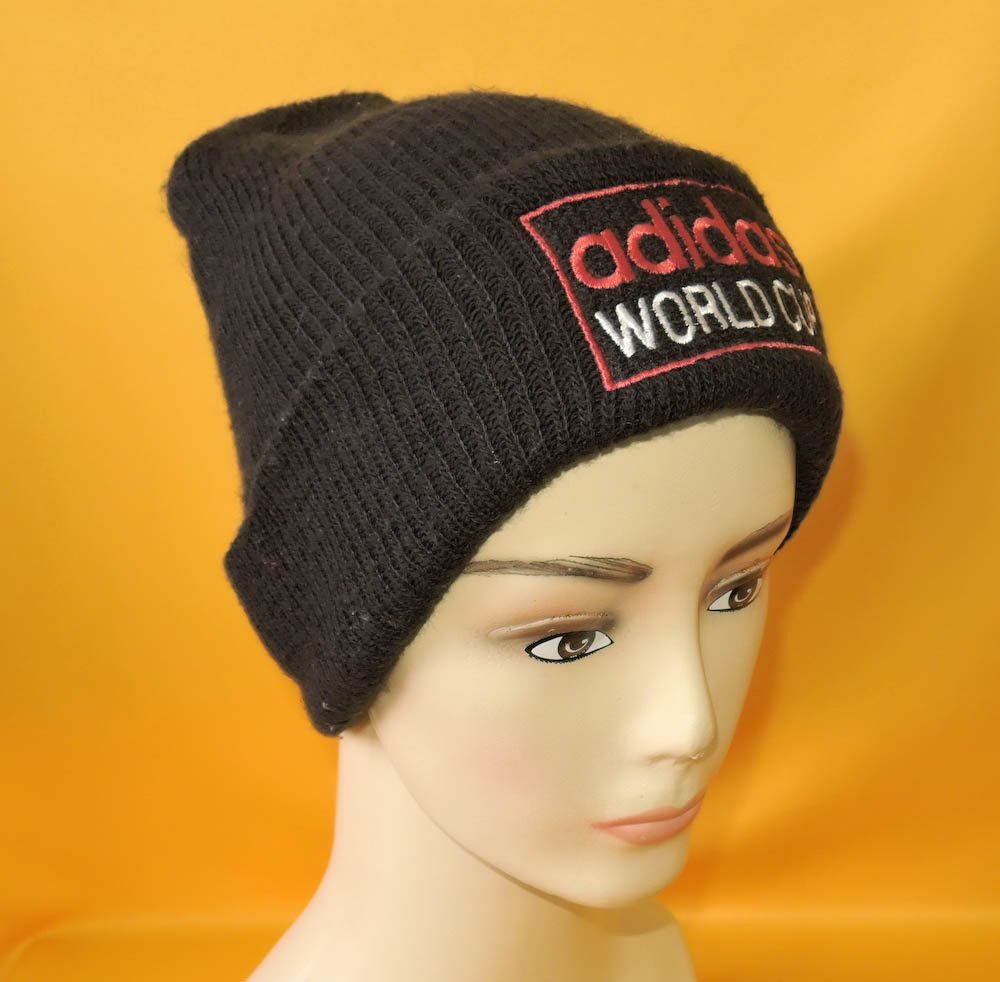 e8079568e08897 Adidas World Cup Beanie Ski Hat Vintage 80s Signature Spell Out Trefoil  Solid Black Acrylic Snow Cap Taiwan R.O.C. by InPersona on Etsy