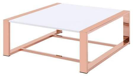 ACME Furniture ACME Porviche Coffee Table, White High Gloss & Rose Gold images