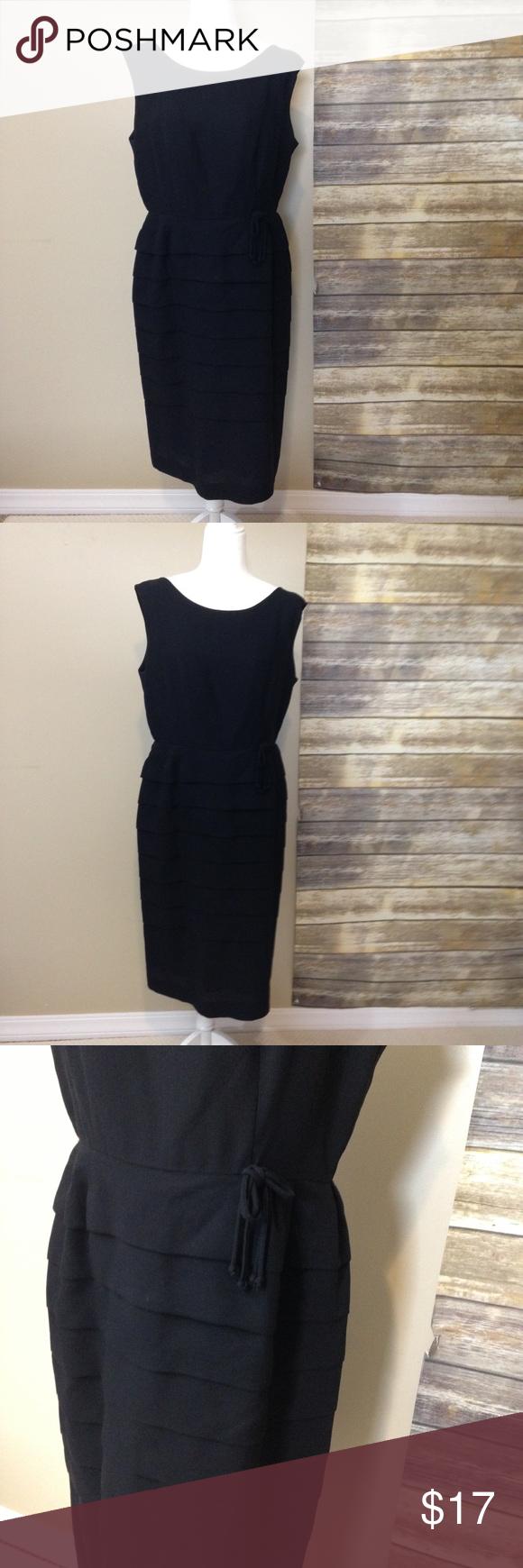 Black Sheath Dress Plus Size Solid Black Dress Fully Lined Back Zipper Tie At Waist Is Decorative This Black Sheath Dress Solid Black Dress Homemade Dress [ 1740 x 580 Pixel ]