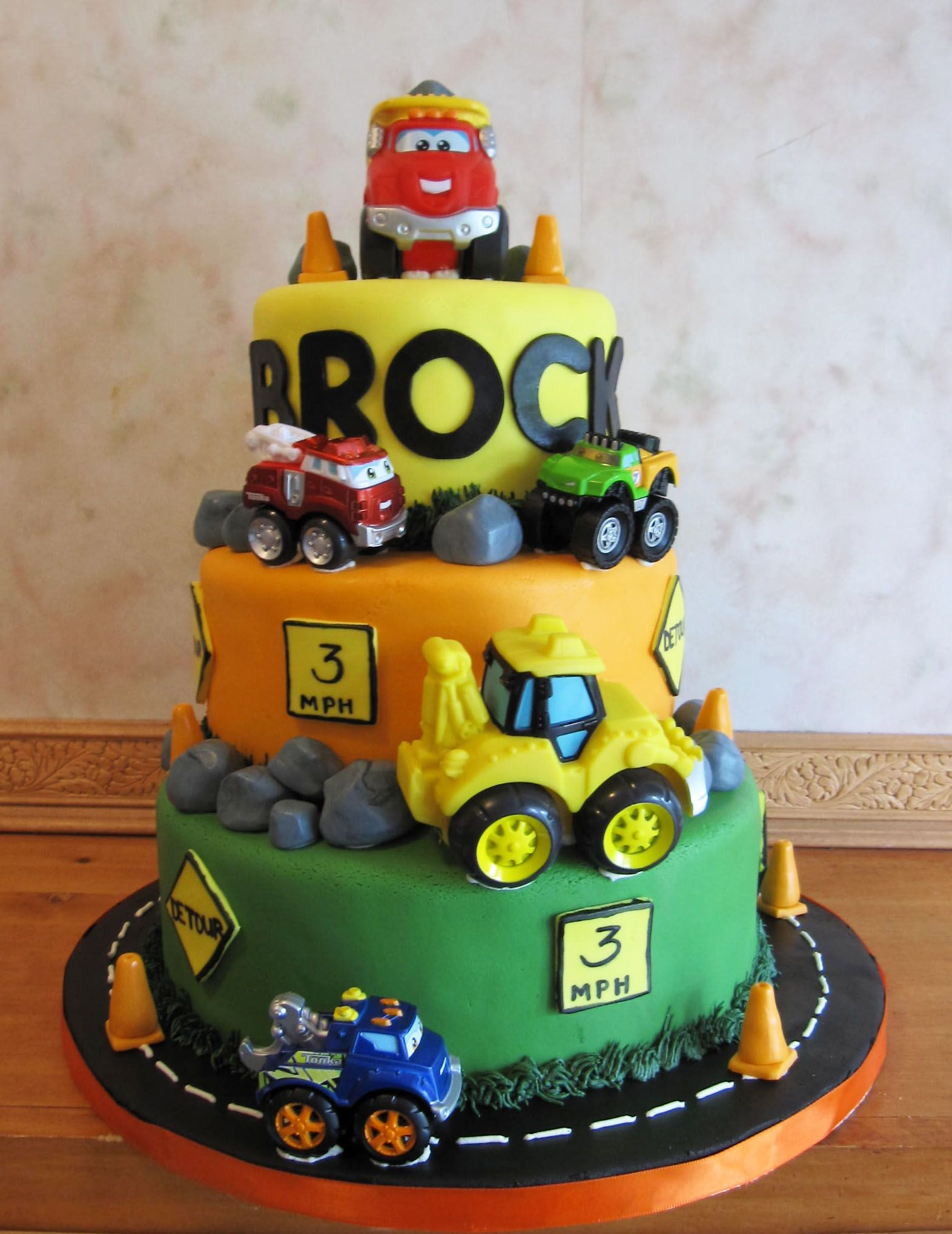 Chuck the Talking Truck 3 Tier 3rd Birthday Cake cakes Pinterest