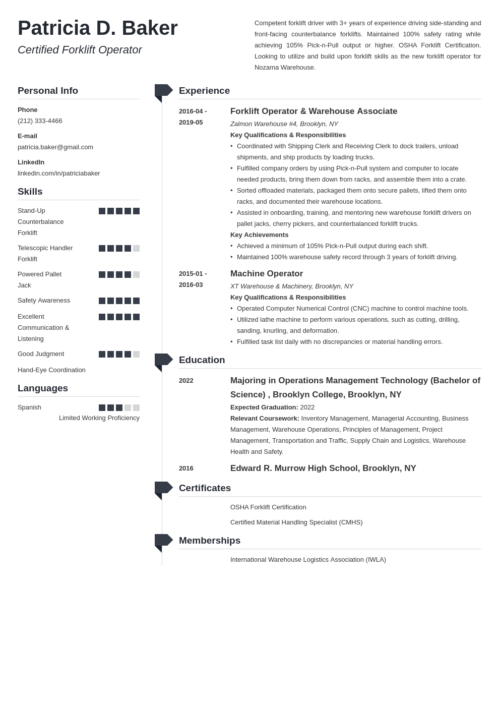 forklift operator resume example template muse in 2020