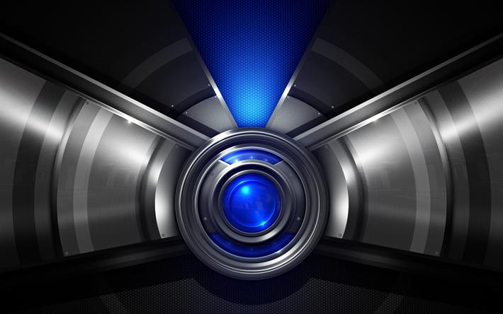 Scarica Sfondi Metallizzato Techno Sfondo Acciaio Texture Blu