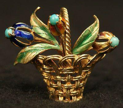 Art Nouveau Old 18K 750 Gold Basket Brooch Pin Enameled Flower Persian Turquoise   eBay