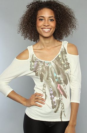 Karmaloop.com - The Feather Necklace Cutout Shoulder Top by Public Library