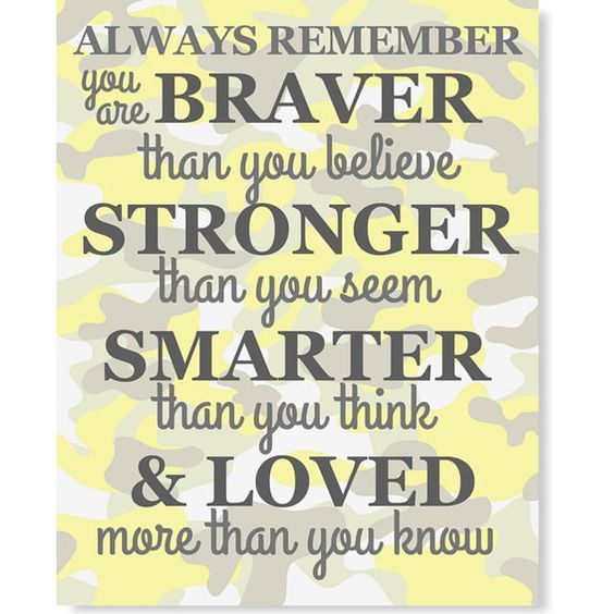 Always Remember You Are Braver Than You Believe Quote Nursery Yellow ...