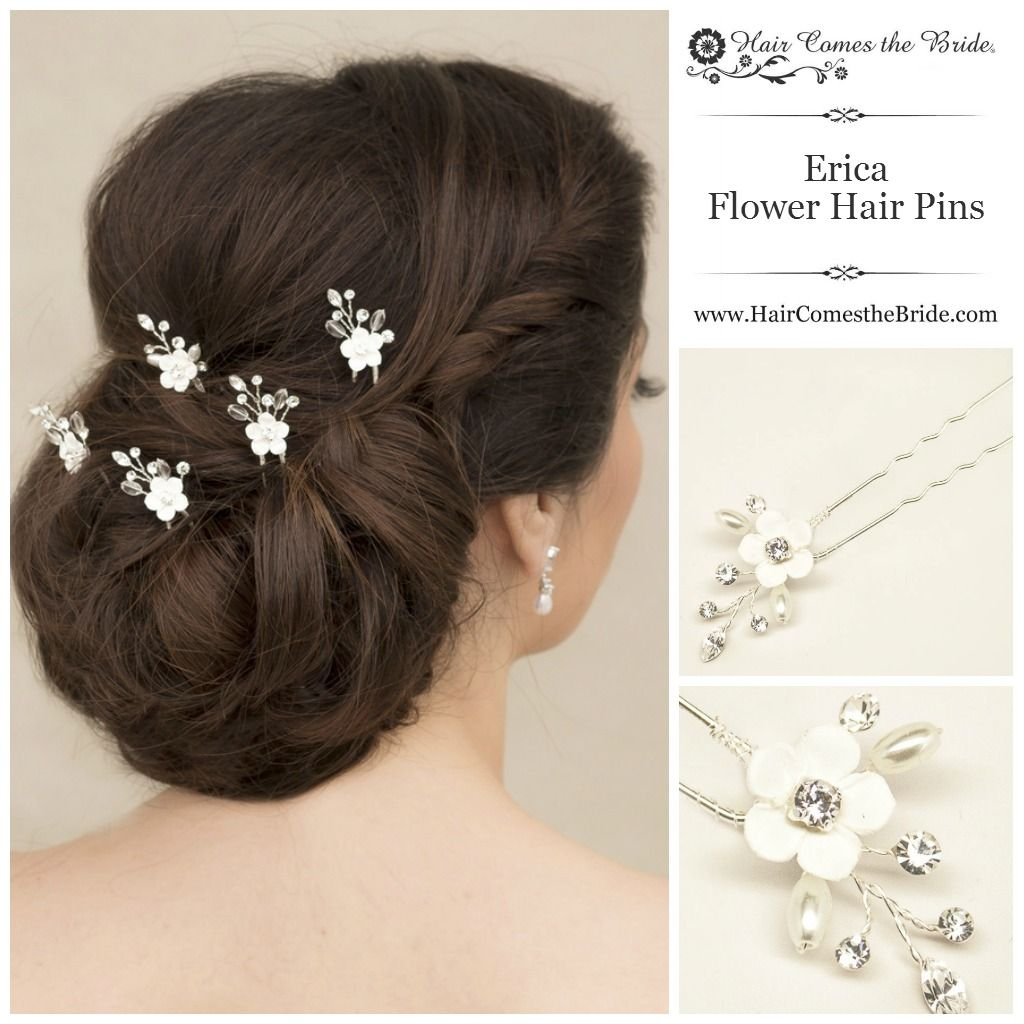 Ceramic flower bridal hair pins by hair comes the bride bridal ceramic flower bridal hair pins by hair comes the bride bridal hair accessories jewelry junglespirit Image collections