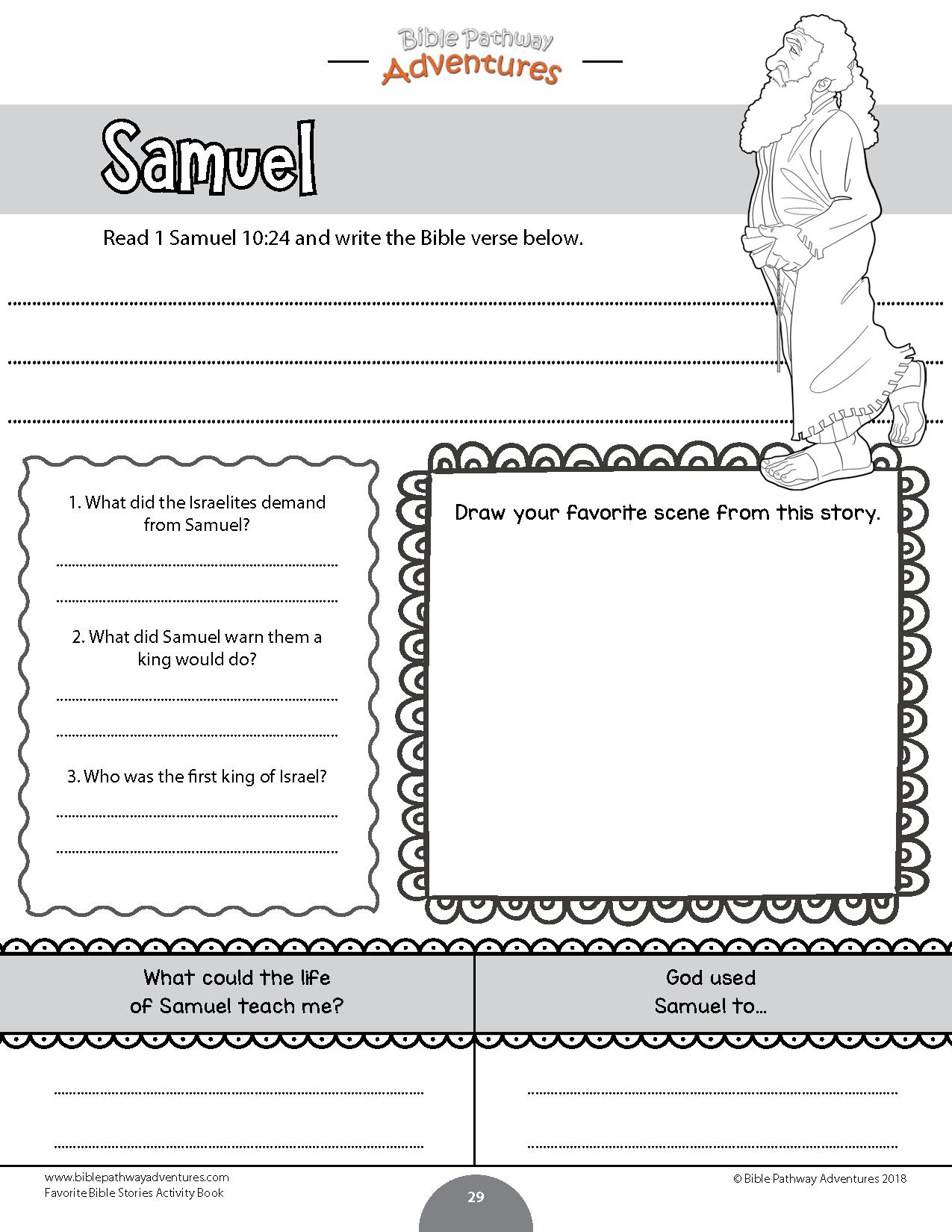 Samuel Coloring Activity For Kids Instant Download Bible Activities Bible Study For Kids Book Activities