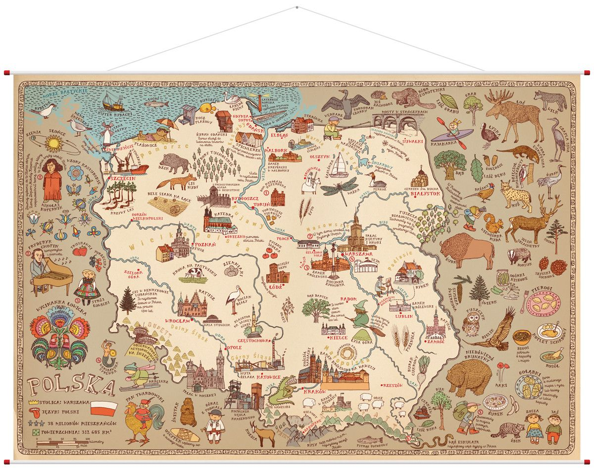 Scienna Mapa Polski Wydawnictwo Dwie Siostry Map Art Pictorial Maps Illustrated Map