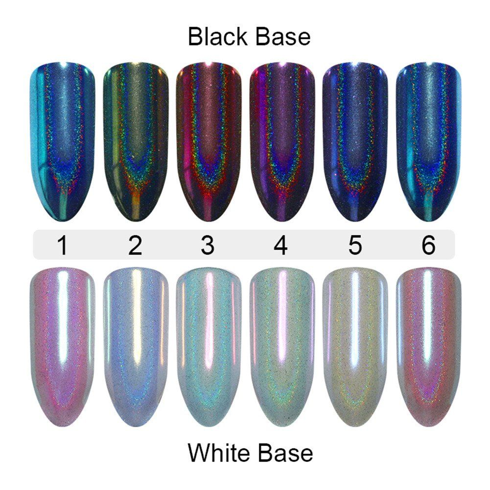 Nicole Diary 6 Boxes Holographic Nail Powder Chameleon Effect Unicorn Mermaid Mirror Glitter Nail Art Chrome Pi Holographic Nail Powder Mirror Nails Holo Nails