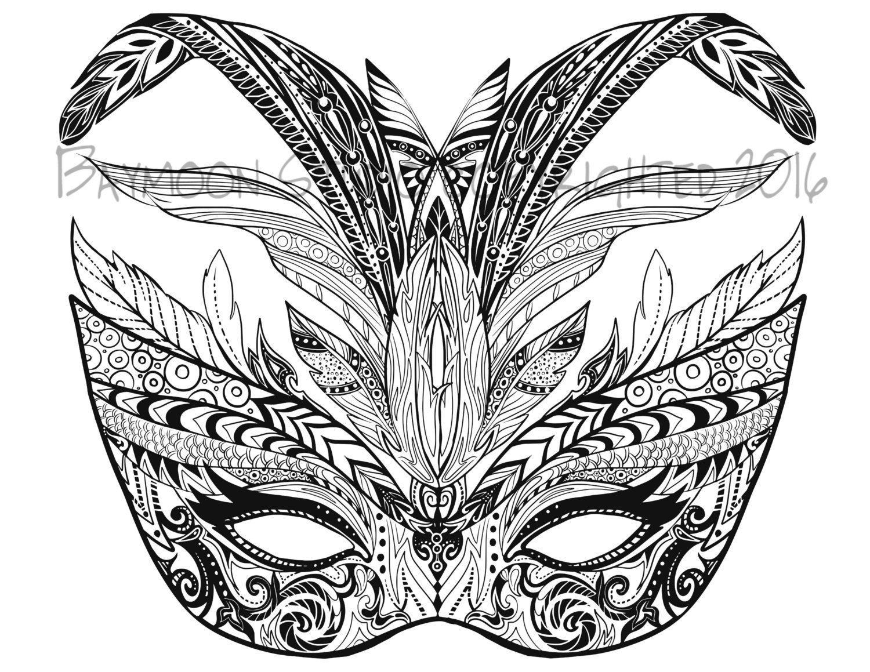 Máscara de carnaval para colorear página por BAYMOONSTUDIO en Etsy ...